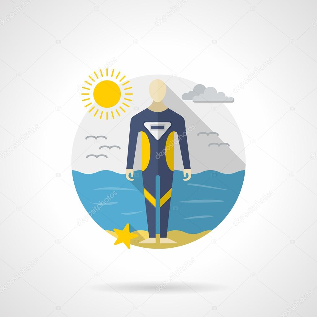 Diving wetsuit color detailed vector icon
