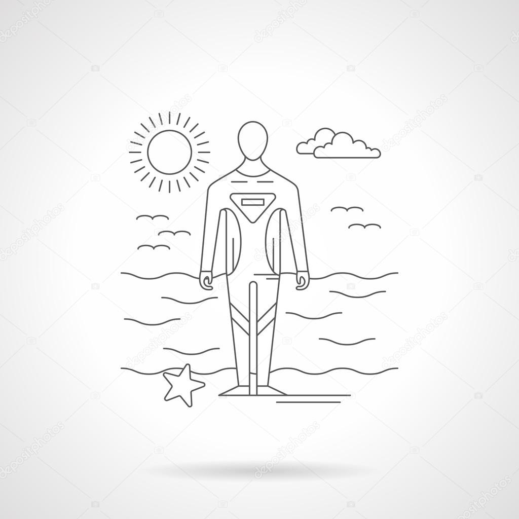 Diver on a sea coast line vector illustration