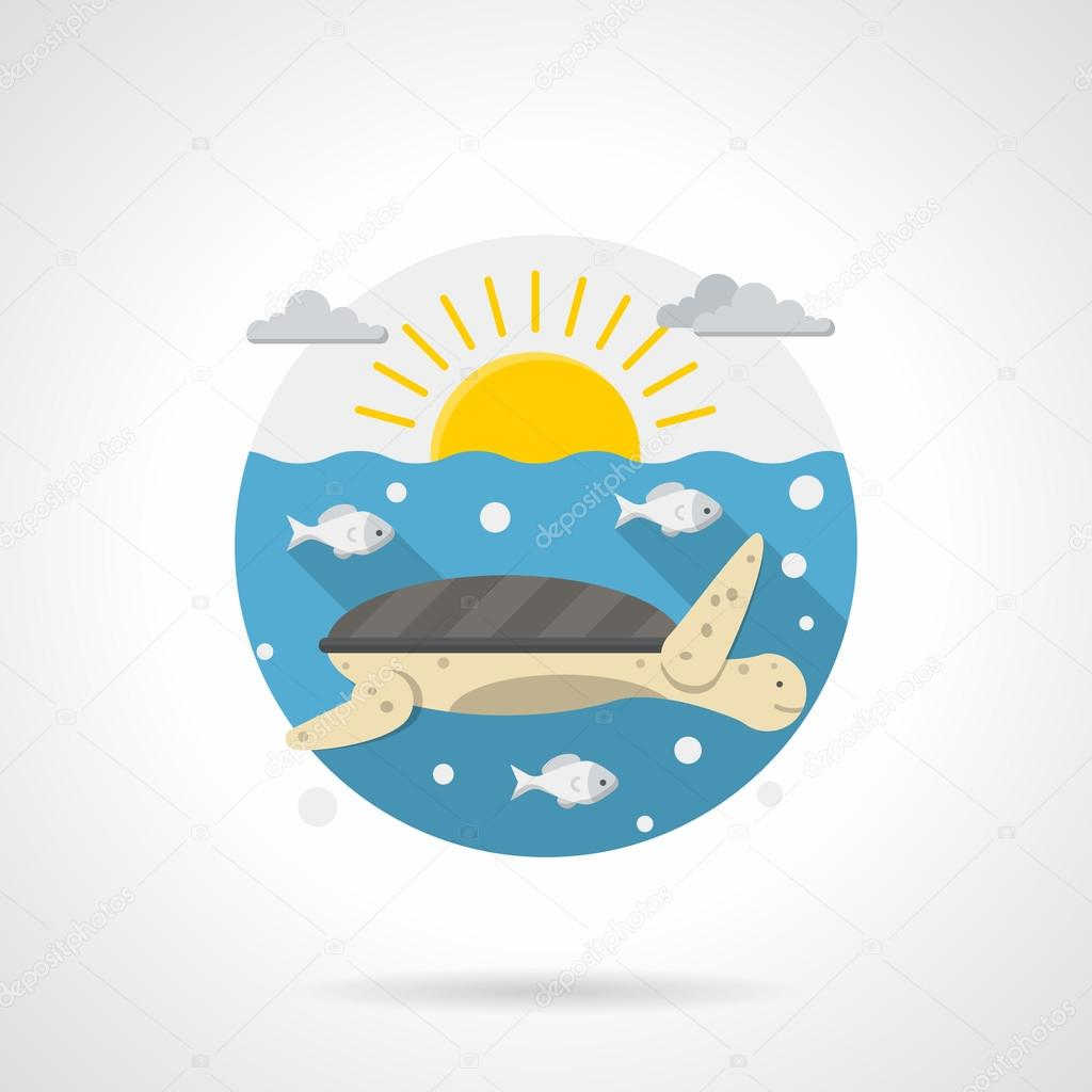 Sea turtle detailed color vector icon