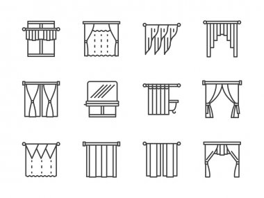Curtains and lambrequin black line vector icons
