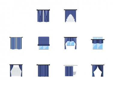 Different curtains colored flat vector icons set