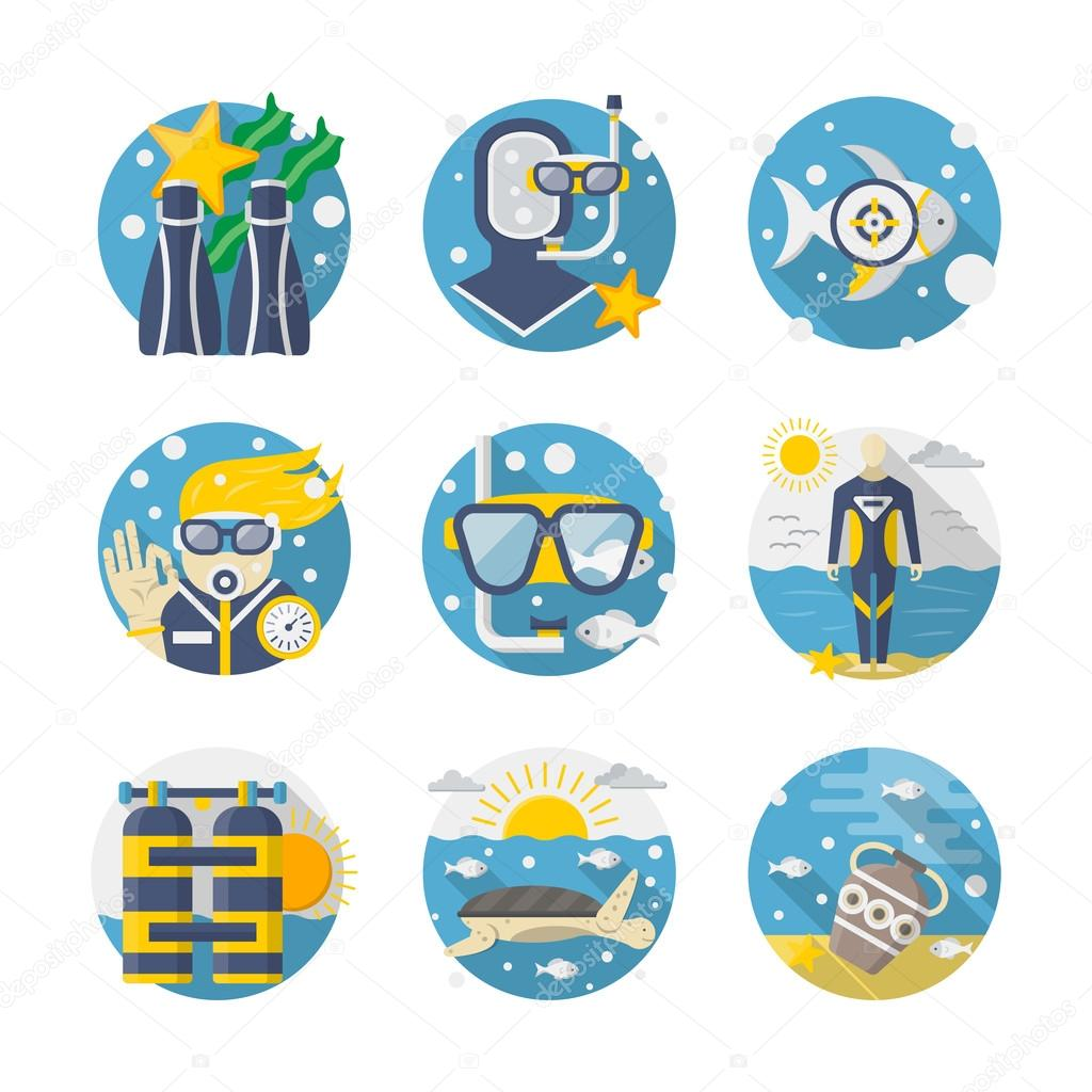 Sea leisure colored detailed flat vector icons set