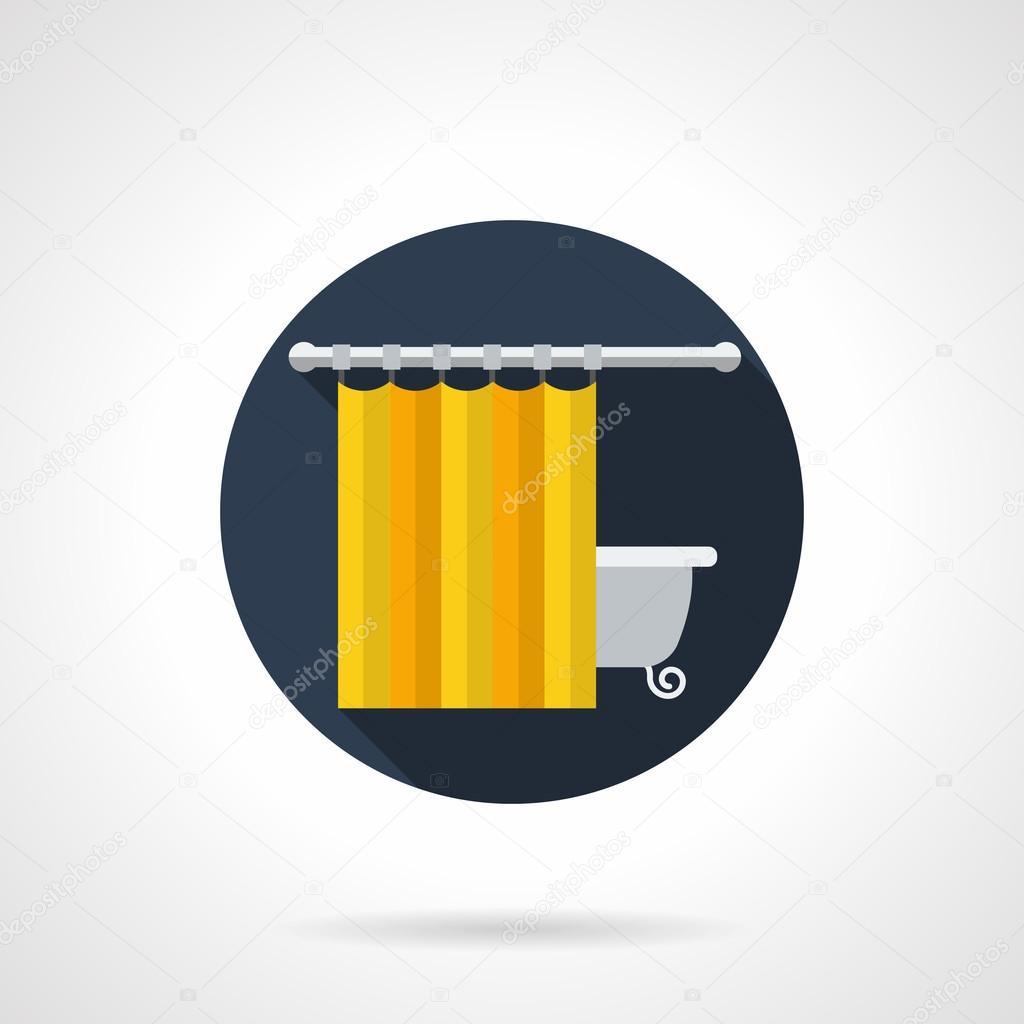 Gele badkamer gordijnen ronde platte vector pictogram — Stockvector ...