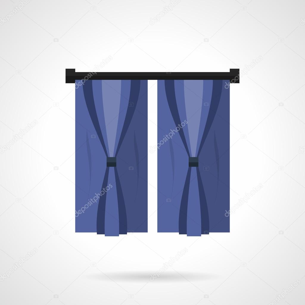 Luxus Stilvolle Blaue Vorhänge Für Schlafzimmer Innenraum. Moderne Textile  Dekorationelement Für Komfortables Und Schönes Wohndesign.