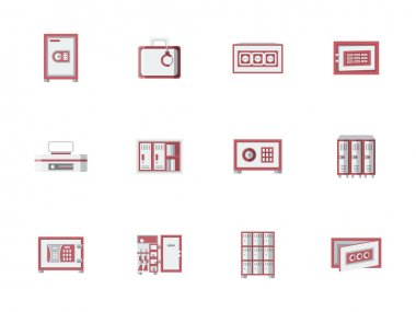 Red cabinets and lockers flat vector icons set