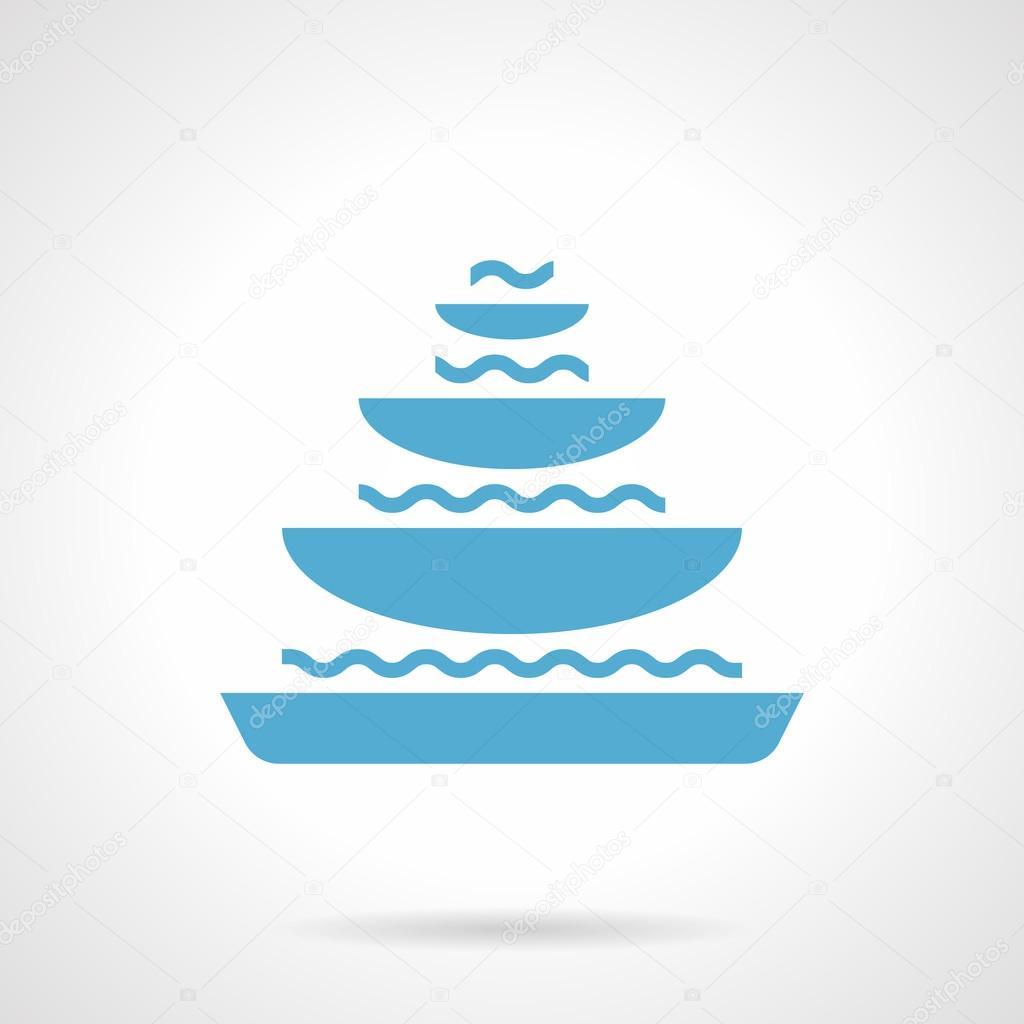 Pyramidal fountain glyph style vector icon