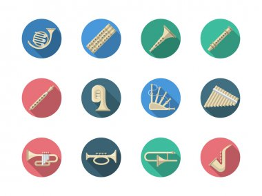 Woodwind and brass instruments round vector icons