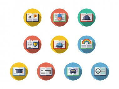 Book genres round flat vector icons set