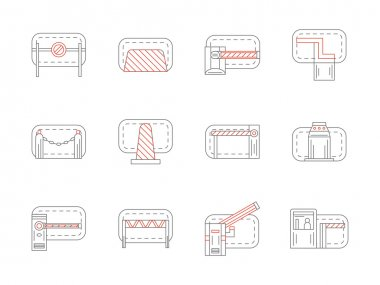 Set of barrier and stopper flat line vector icons