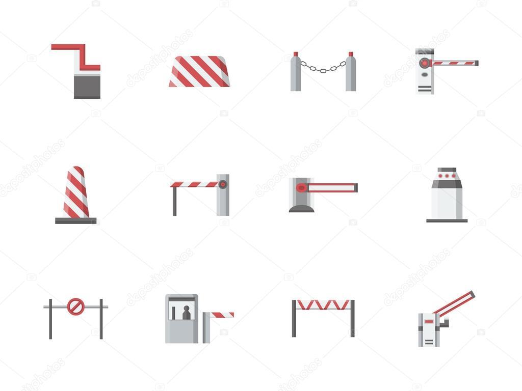 Verkehr-Tore-flache Farbe-Vektor-icons — Stockvektor ...