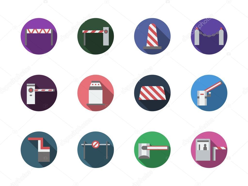 Road-Schranken Runden Farbe Vektor-icons — Stockvektor ...