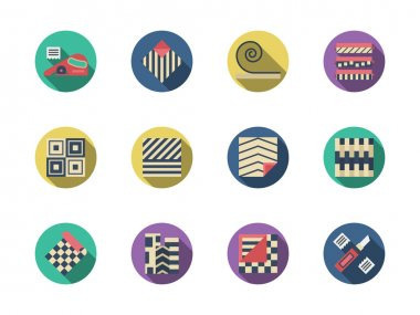 Flooring materials round color vector icons