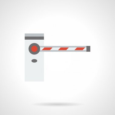 Automatic road barrier flat color vector icon