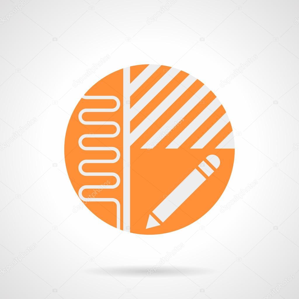 Heated Floor Project Orange Round Vector Icon Stock