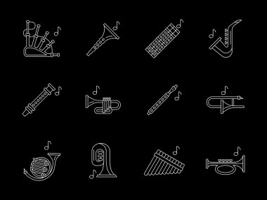 Woodwind music white line vector icons set