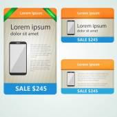 Barevné vektorové bannery prodej telefonů