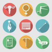 flache Vektorsymbole für Geburtshilfe und Gynäkologie
