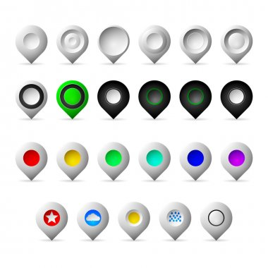 Colored markers geolocation vector icons