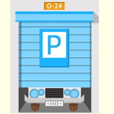 Colored flat vector icon for parking gate
