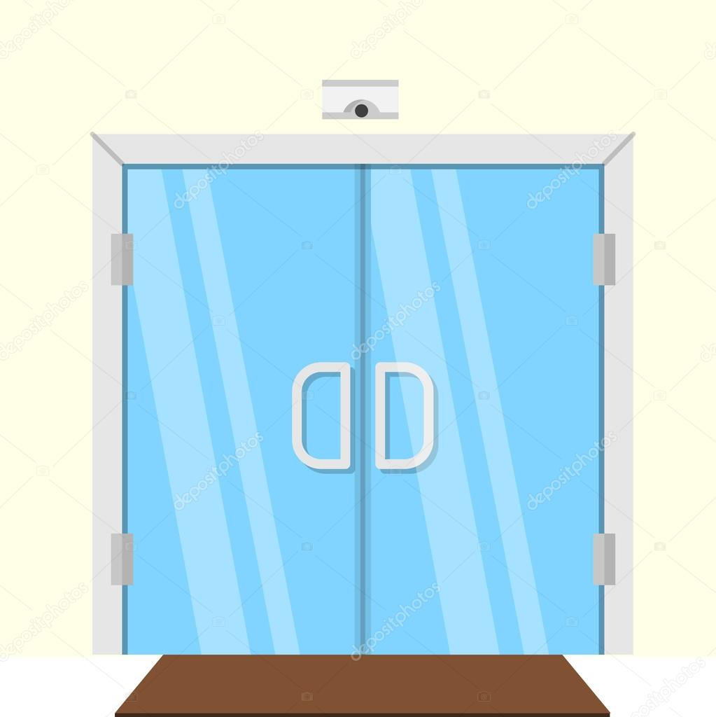 Transparent Glass Double Door For Some Commercial Building Interior Flat Design Vector Illustration Vector By Yershovoleksandr