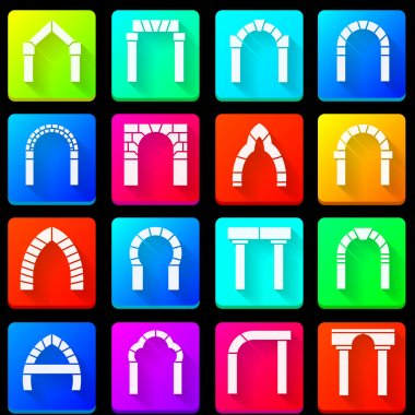 Colored icons collection of arches