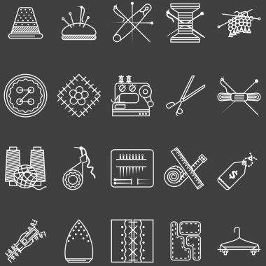 Set of white line vector icons for sewing