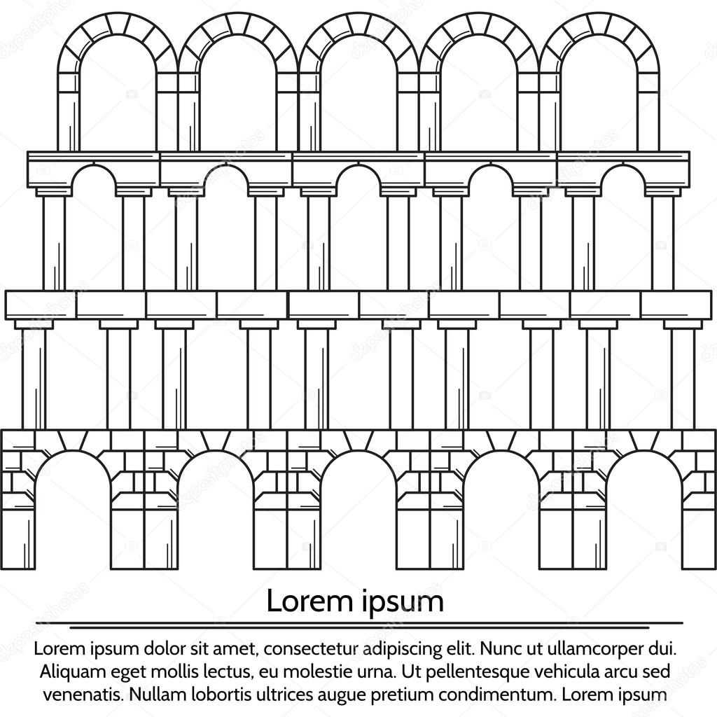 Vector illustration of line design arch structure — Stock