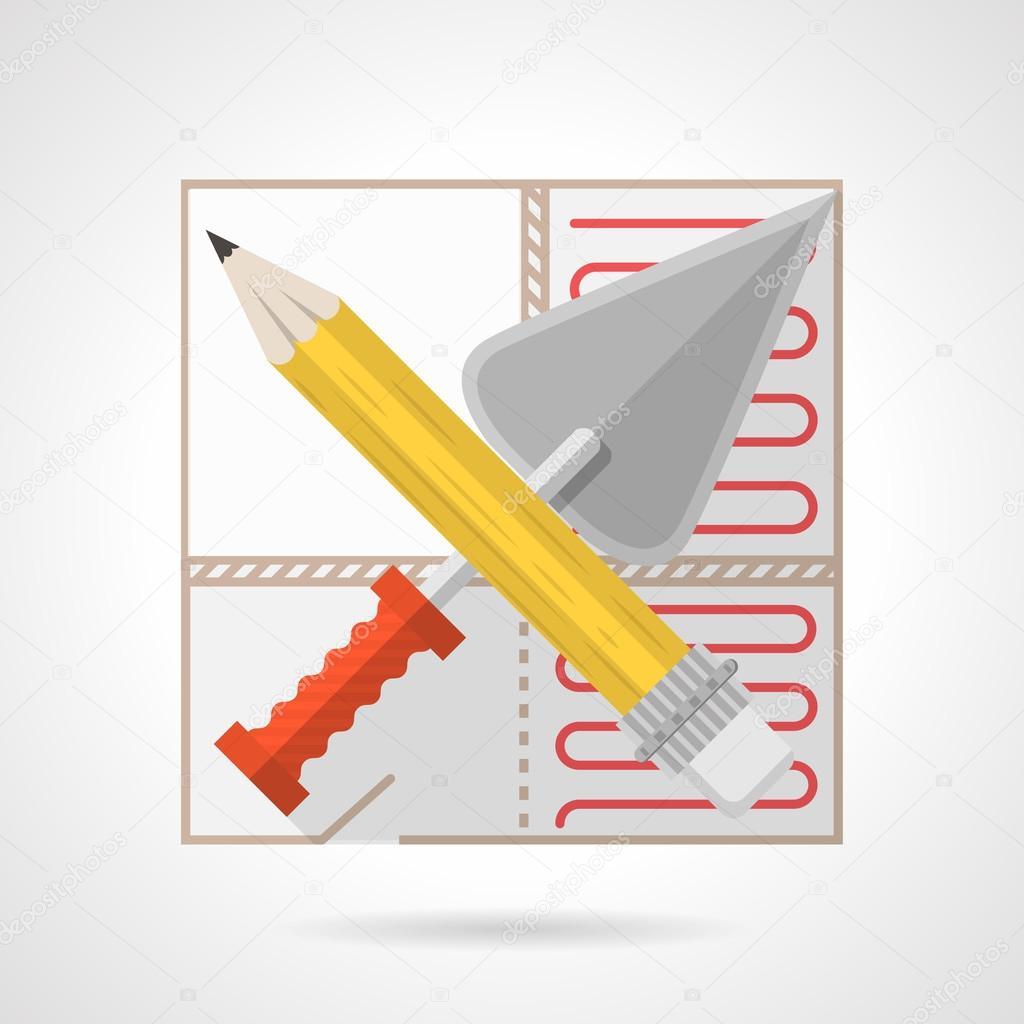 Icono de vector colorido para el servicio de calefacción por suelo ...