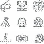 Icone di vettore di linea nera per le immersioni