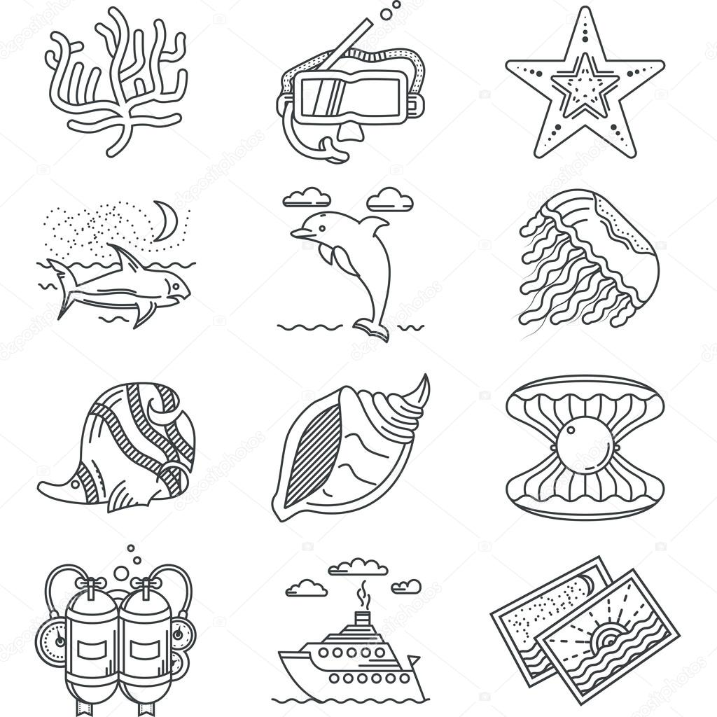 Black line vector icons for tropical rest