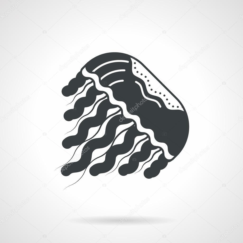 Black silhouette vector icon for jellyfish