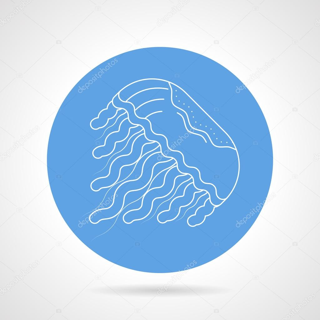 Jellyfish white line vector icon