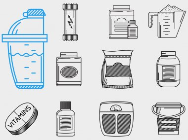 Flat line icons vector collection for sports nutrition