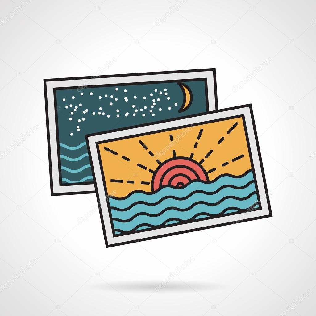 Flat style vector icon for vacations memories