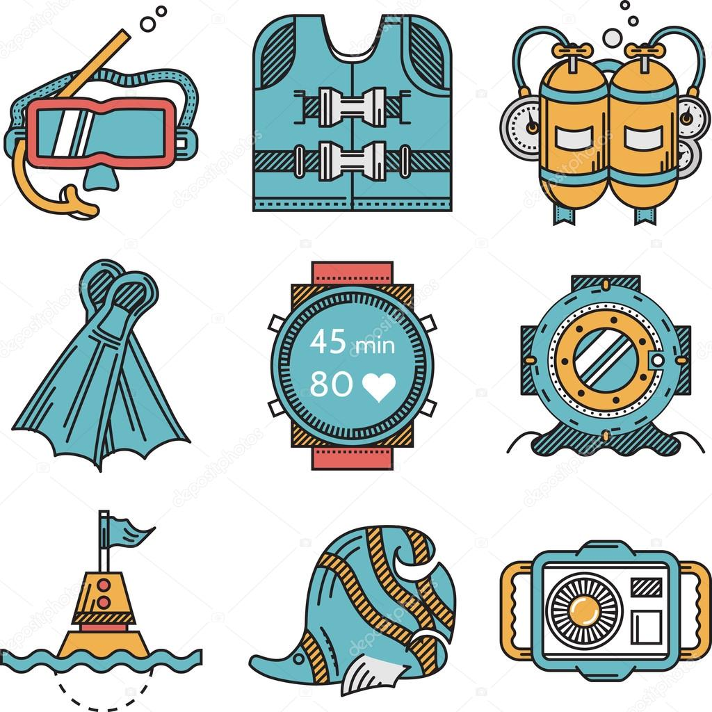 Diving icons flat design vector collection
