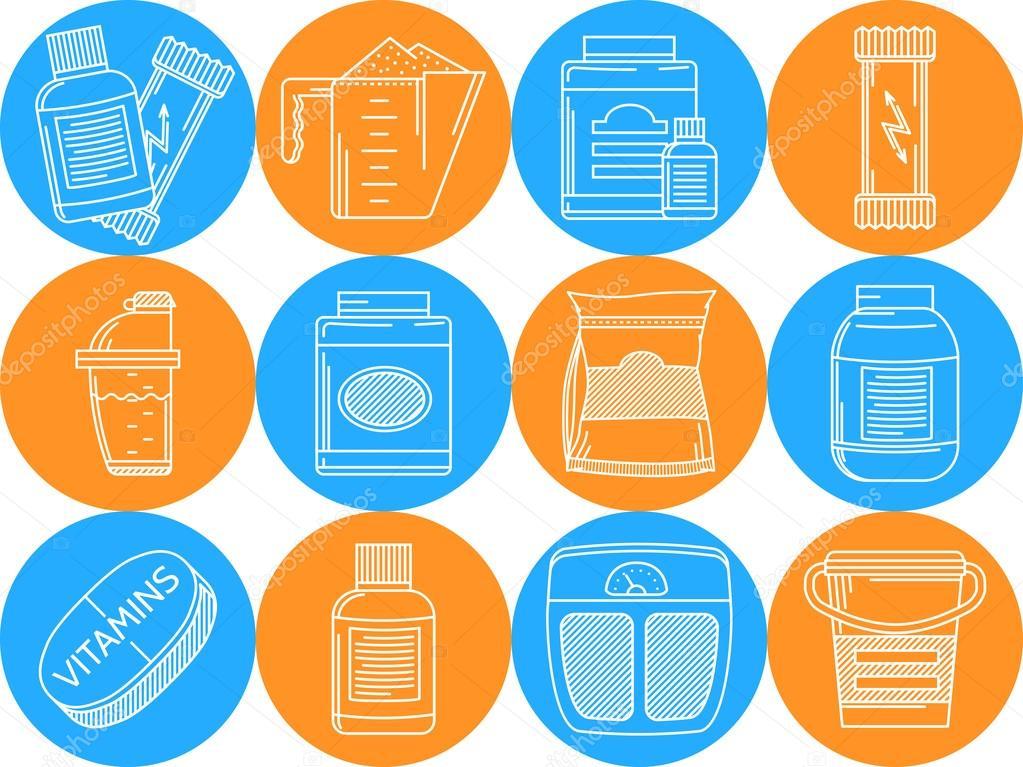 6ac5bd405 Conjunto de ícones do vetor azul e laranja redonda com elementos de linha  branca para suplementos de desporto no fundo branco — Vetor de  YershovOleksandr1