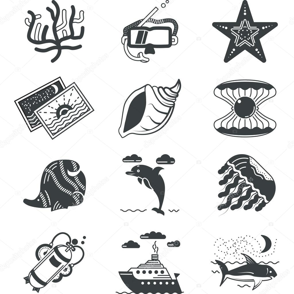 Black monochrome marine vector icons