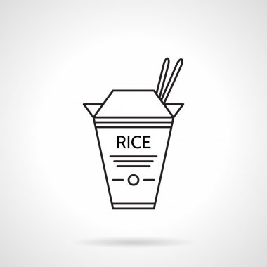 Rice pack black line vector icon