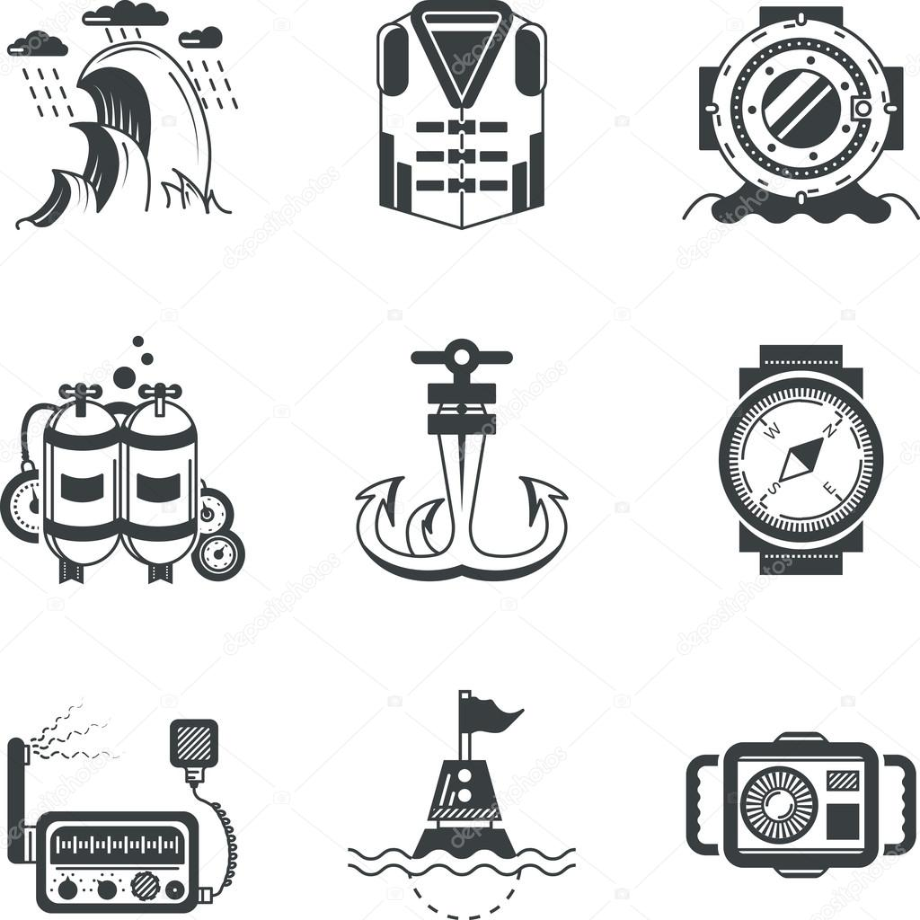 Marine black vector icons