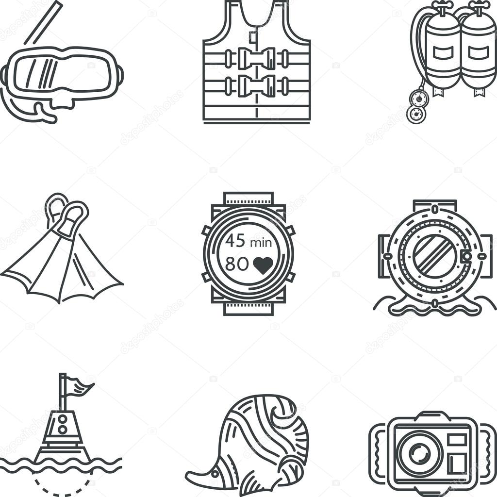 Diving black line vector icons