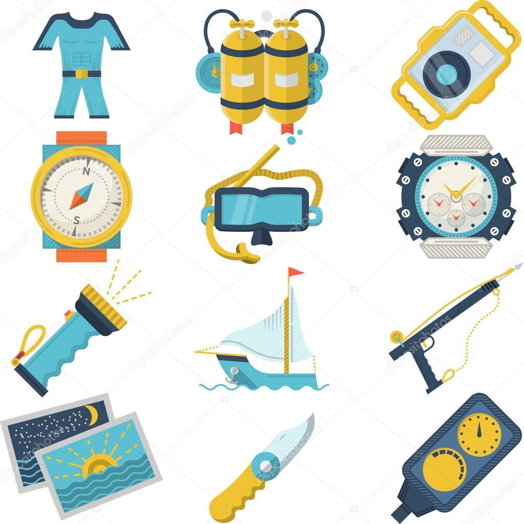 Diving sport flat color vector icons