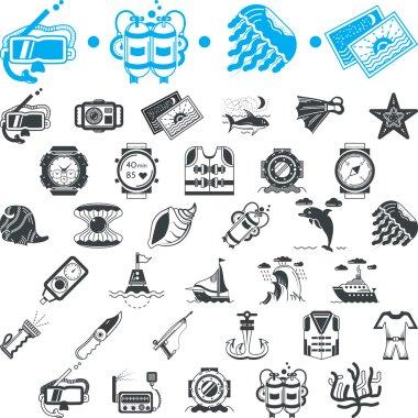 Nautical icons vector collection