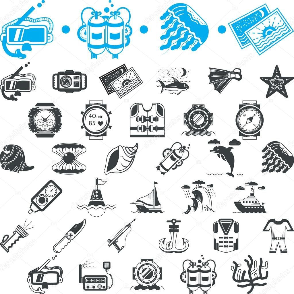 Nautical icons vector collection