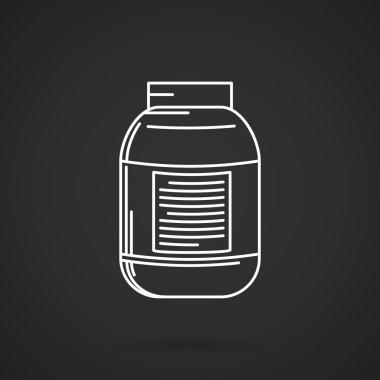 Creatine supplements jar vector icon