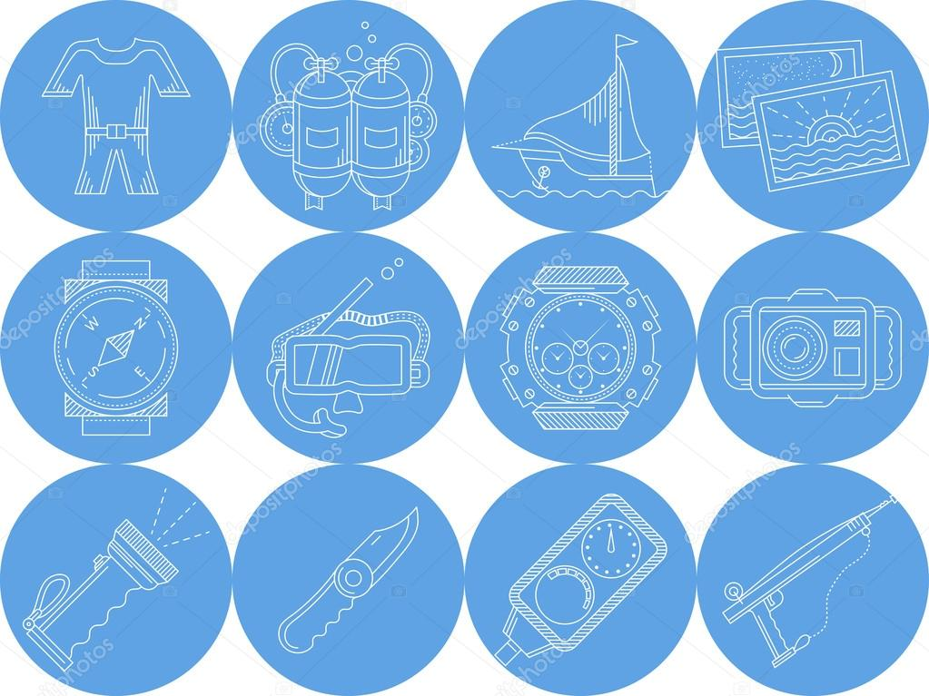 Blue round icons vector collection of diving