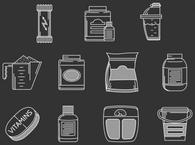 Sports supplements white line vector icons set