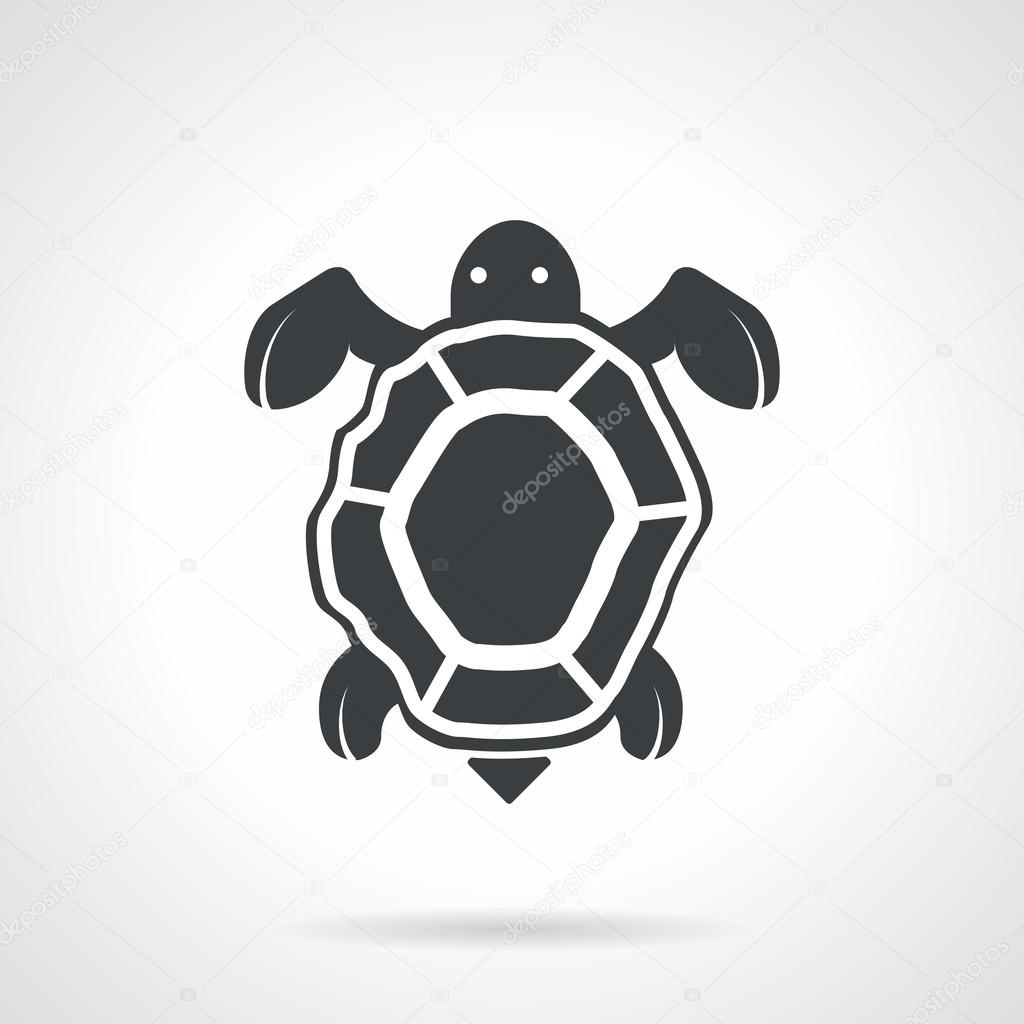 Sea turtle black vector icon