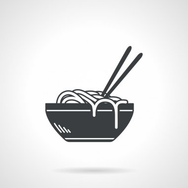 Noodles black vector icon