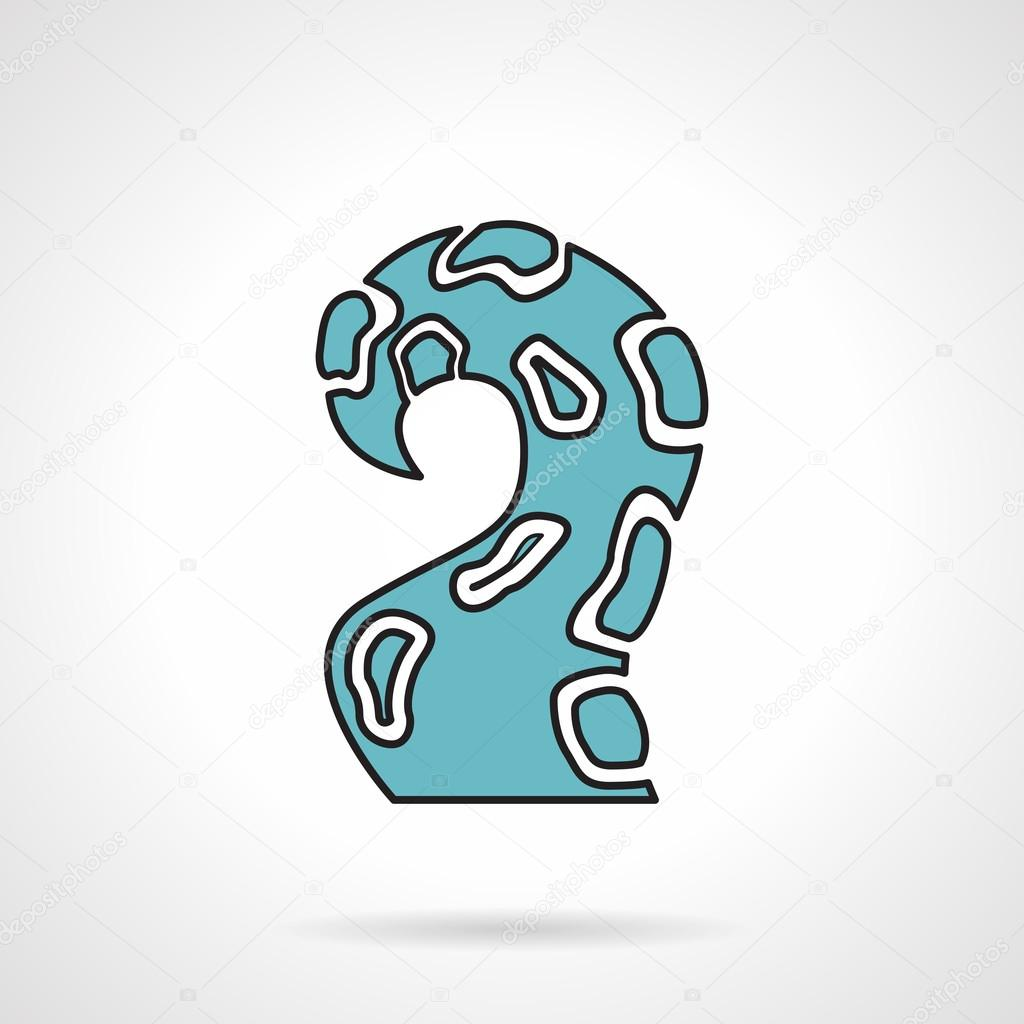 Blue single tentacle vector icon