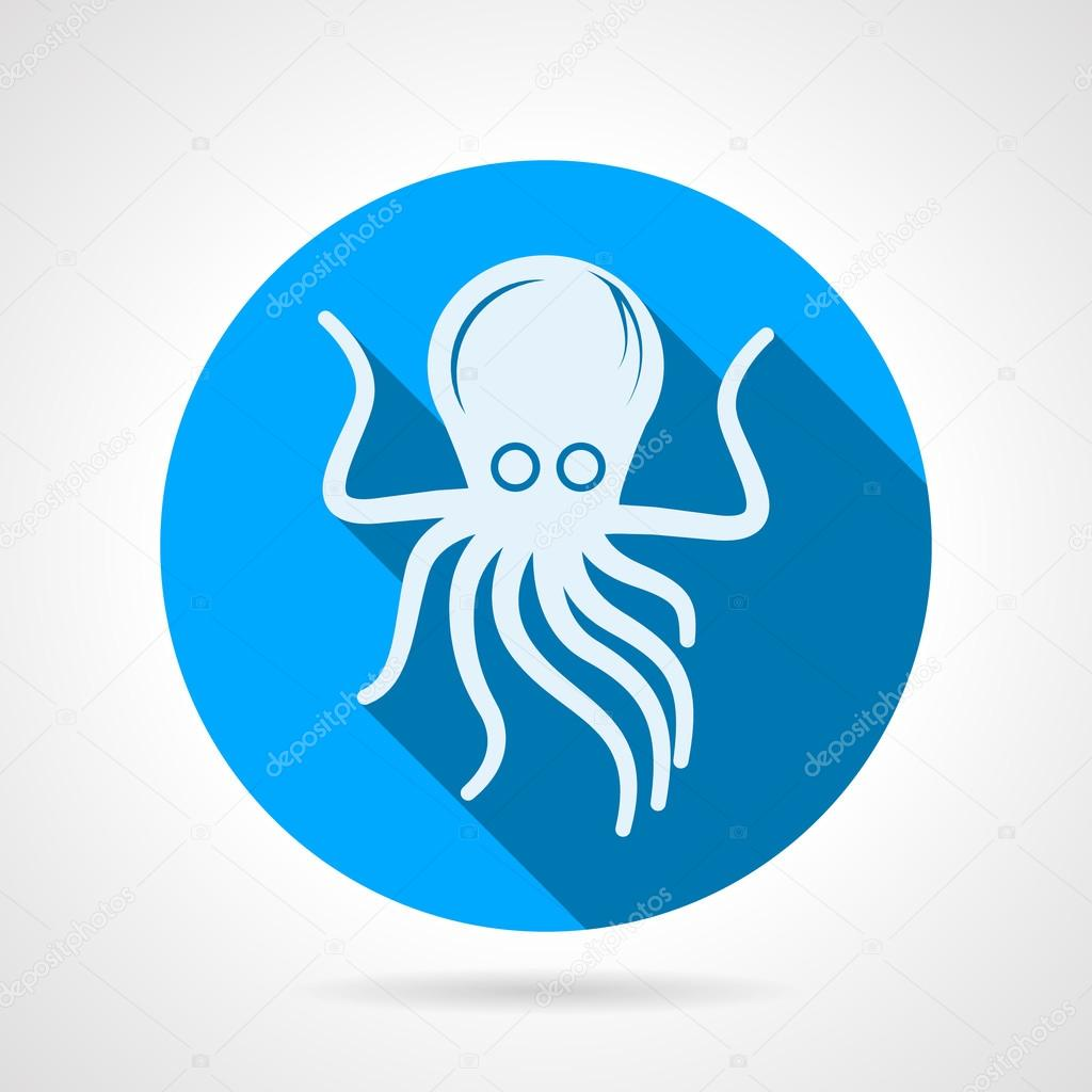 Octopus flat round vector icon